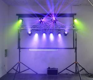 8x LED Par, 2x Effekt, Traverse & 2x Kurbelstativ